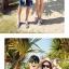 เสื้อคู่รัก ชุดคู่รักเที่ยวทะเลชาย +หญิง เสื้อยืดสีขาวลายคนติดเกาะ กางเกงขาสั้นลายต้นมะพร้าวโทนสีฟ้า +พร้อมส่ง+ thumbnail 7