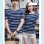 +พร้อมส่ง+ เสื้อคู่รักเกาหลี แฟชั่นคู่รัก ชายหญิง เสื้อยืดคอกลม ลายริ้ว สีน้ำเงินสลับขาว thumbnail 5