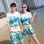 เสื้อคู่รัก ชุดคู่รักเที่ยวทะเลชาย +หญิง เสื้อยืดสีขาวลายคู่รักสวีทเที่ยวทะเล กางเกงขาสั้นสีเขียว +พร้อมส่ง+ thumbnail 1