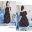 เสื้อผ้าแฟชั่นสไตส์เกาหลี เดรสเกาะอก สีดำ แต่งจั้มเอว +พร้อมส่ง+ thumbnail 3