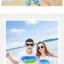 เสื้อคู่รัก ชุดคู่รักเที่ยวทะเลชาย +หญิง เสื้อยืดสีขาวลายแถบสี รองเท้า กางเกงขาสั้นลายต้นมะพร้าว +พร้อมส่ง+ thumbnail 2