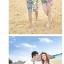 เสื้อคู่รัก ชุดคู่รักเที่ยวทะเลชาย +หญิง เสื้อยืดสีขาวลายยิ้ม I Love กางเกงขาสั้นลายเส้น +พร้อมส่ง+ thumbnail 3
