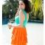 พร้อมส่ง ชุดว่ายน้ำทรงแซก เซ็ต 2 ชิ้น โทนสีเขียวส้ม ชุดแซกแต่งระบายน่ารักมากๆ (ชุดแซก + กางเกงขาสั้น) thumbnail 4