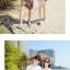 เสื้อคู่รัก ชุดคู่รักเที่ยวทะเลชาย +หญิง เสื้อยืดสีขาวลายคนติดเกาะ กางเกงขาสั้นลายพระอาทิตย์โทนสีส้ม +พร้อมส่ง+ thumbnail 3