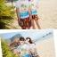 เสื้อคู่รัก ชุดคู่รักเที่ยวทะเลชาย +หญิง เสื้อยืดสีขาวลายคนติดเกาะ กางเกงขาสั้นลายพระอาทิตย์โทนสีส้ม +พร้อมส่ง+ thumbnail 2