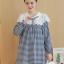 K96004 เสื้อคลุมท้องแฟชั่นเกาหลี ลายตาราง คอบัวแต่งด้วยผ้าลูกไม้ ใส่แล้วน่ารักมากๆ ค่ะ thumbnail 5