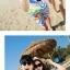 เสื้อคู่รัก ชุดคู่รักเที่ยวทะเลชาย +หญิง เสื้อยืดสีขาวลายสวีทริมทะเล กางเกงขาสั้นลายไทยโทนสีส้ม +พร้อมส่ง+ thumbnail 3