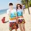 เสื้อคู่รัก ชุดคู่รักเที่ยวทะเลชาย +หญิง เสื้อยืดสีขาวลายคู่รักนอนตากแดด กางเกงขาสั้นลายพระอาทิตย์โทนสีส้ม +พร้อมส่ง+ thumbnail 1