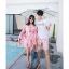 ชุดเสื้อคู่รักเที่ยวทะเล ชายเสื้อยืดพร้อมกางเกงขาสั้น + เดรสแขนยาว สีชมพู แต่งลายดอกไม้ +พร้อมส่ง สำเนา thumbnail 12