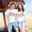 เสื้อคู่รัก ชุดคู่รักเที่ยวทะเลชาย +หญิง เสื้อยืดสีขาวลาย LO VE กางเกงขาสั้นลายต้นมะพร้าว +พร้อมส่ง+ thumbnail 1