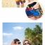เสื้อคู่รัก ชุดคู่รักเที่ยวทะเลชาย +หญิง เสื้อยืดสีขาวลายแถบสี รองเท้า กางเกงขาสั้นลายแถบสีหลากสี +พร้อมส่ง+ thumbnail 6