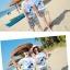 เสื้อคู่รัก ชุดคู่รักเที่ยวทะเลชาย +หญิง เสื้อยืดสีขาวลายสวีทริมทะเล กางเกงขาสั้นลายเส้น +พร้อมส่ง+ thumbnail 3