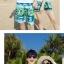 เสื้อคู่รัก ชุดคู่รักเที่ยวทะเลชาย +หญิง เสื้อยืดสีขาวลายตัวอักษร กางเกงขาสั้นลายสีเขียว +พร้อมส่ง+ thumbnail 6
