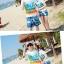 เสื้อคู่รัก ชุดคู่รักเที่ยวทะเลชาย +หญิง เสื้อยืดสีขาวลายคู่รักนอนตากแดด กางเกงขาสั้นลายแฉกโทนสีฟ้า +พร้อมส่ง+ thumbnail 5