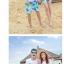 เสื้อคู่รัก ชุดคู่รักเที่ยวทะเลชาย +หญิง เสื้อยืดสีขาวลายคนนั่งมองดูนก กางเกงขาสั้นลายต้นมะพร้าว +พร้อมส่ง+ thumbnail 4