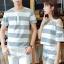 เสื้อคู่รัก ชายเสื้อแขนสั้น + หญิงเสื้อแขนสั้น พร้อมกางเกงขาสั้น แต่งลายเทาขาว +พร้อมส่ง+ thumbnail 6