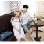 เสื้อคู่รัก แฟชั่นคู่รัก ชายเสื้อยืดคอกลม + เดรสคอกลม สีขาว แต่งลายไทย +พร้อมส่ง thumbnail 11