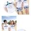 เสื้อคู่รัก ชุดคู่รักเที่ยวทะเลชาย +หญิง เสื้อยืดสีขาวลายหนวด กางเกงขาสั้นโทนสีกรมม่วง +พร้อมส่ง+ thumbnail 2