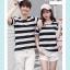 +พร้อมส่ง+ เสื้อคู่รักเกาหลี แฟชั่นคู่รัก ชายหญิง เสื้อยืดคอกลม ลายริ้วใหญ่ สีดำสลับขาว thumbnail 5
