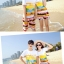 เสื้อคู่รัก ชุดคู่รักเที่ยวทะเลชาย +หญิง เสื้อยืดสีขาวลายคู่รักขับรถเที่ยวชายหาด กางเกงขาสั้นลายแถบสี +พร้อมส่ง+ thumbnail 5