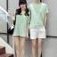 เสื้อคู่รัก ชายเสื้อยืดคอกลม + เสื้อตัวยาว สีเขียว แต่งลายริ้วเขียวขาว +พร้อมส่ง+ thumbnail 9