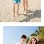 เสื้อคู่รัก ชุดคู่รักเที่ยวทะเลชาย +หญิง เสื้อยืดสีขาวคู่รักนอนอาบแดด กางเกงขาสั้นสีเขียว +พร้อมส่ง+ thumbnail 6