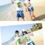 เสื้อคู่รัก ชุดคู่รักเที่ยวทะเลชาย +หญิง เสื้อยืดสีขาวลายต้นมะพร้าว กางเกงขาสั้นลายแฉกโทนสีฟ้า +พร้อมส่ง+ thumbnail 6