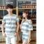 เสื้อคู่รัก ชายเสื้อแขนสั้น + หญิงเสื้อแขนสั้น พร้อมกางเกงขาสั้น แต่งลายเทาขาว +พร้อมส่ง+ thumbnail 12