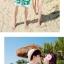 เสื้อคู่รัก ชุดคู่รักเที่ยวทะเลชาย +หญิง เสื้อยืดสีขาวลายคู่รักสวีทพระอาทิพย์ตกดิน กางเกงขาสั้นโทนสีเขียว +พร้อมส่ง+ thumbnail 4