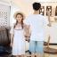 เสื้อคู่รัก แฟชั่นคู่รัก ชายเสื้อยืดคอกลม + เดรสคอกลม สีขาว แต่งลายไทย +พร้อมส่ง thumbnail 3