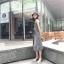 เสื้อผ้าแฟชั่นสไตส์เกาหลี เดรสยาวแขนกุด ลายริ้วสีดำขาว +พร้อมส่ง+ thumbnail 13