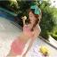 พร้อมส่ง ชุดว่ายน้ำกางเกงกระโปรง เซ็ต 3 ชิ้น สีส้มโอรส (บรา+กางเกงกระโปรง+เสื้อคลุมผ้าซีทรูลายดอกไม้) thumbnail 3