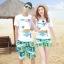 เสื้อคู่รัก ชุดคู่รักเที่ยวทะเลชาย +หญิง เสื้อยืดสีขาวลายเกาะทะเล กางเกงขาสั้นสีเขียว +พร้อมส่ง+ thumbnail 1