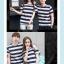 +พร้อมส่ง+ เสื้อคู่รักเกาหลี แฟชั่นคู่รัก ชายหญิง เสื้อยืดคอกลม ลายริ้วใหญ่ สีน้ำเงินสลับขาว thumbnail 5
