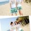 เสื้อคู่รัก ชุดคู่รักเที่ยวทะเลชาย +หญิง เสื้อยืดสีขาวคู่รักนอนอาบแดด กางเกงขาสั้นสีเขียว +พร้อมส่ง+ thumbnail 3
