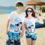 เสื้อคู่รัก ชุดคู่รักเที่ยวทะเลชาย +หญิง เสื้อยืดสีขาวลายสวีทริมทะเล กางเกงขาสั้นลายต้นมะพร้าวโทนสีฟ้า +พร้อมส่ง+ thumbnail 1