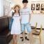 เสื้อคู่รัก แฟชั่นคู่รัก ชายเสื้อยืดคอกลม + เดรสคอกลม สีขาว แต่งลายไทย +พร้อมส่ง thumbnail 13