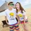 เสื้อคู่รัก ชุดคู่รักเที่ยวทะเลชาย +หญิง เสื้อยืดสีขาวลายยิ้ม I Love กางเกงขาสั้นลายแถบสี โทนสีรุ้ง +พร้อมส่ง+ thumbnail 1