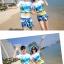 เสื้อคู่รัก ชุดคู่รักเที่ยวทะเลชาย +หญิง เสื้อยืดสีขาวลายคู่รักสวีทเที่ยวทะเล กางเกงขาสั้นลายแฉกโทนสีฟ้า +พร้อมส่ง+ thumbnail 4