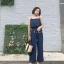 เสื้อผ้าแฟชั่นสไตส์เกาหลี แซกจั้มสูทสายเดี่ยว สีน้ำเงิน +พร้อมส่ง+ thumbnail 1