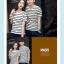 +พร้อมส่ง+ เสื้อคู่รักเกาหลี แฟชั่นคู่รัก ชายหญิง เสื้อยืดคอกลม ลายริ้ว สีดำสลับขาว thumbnail 6