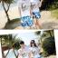 เสื้อคู่รัก ชุดคู่รักเที่ยวทะเลชาย +หญิง เสื้อยืดสีขาวลายคู่รักสวีทพระอาทิพย์ตกดิน กางเกงขาสั้นลายแฉกโทนสีฟ้า +พร้อมส่ง+ thumbnail 2