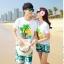 เสื้อคู่รัก ชุดคู่รักเที่ยวทะเลชาย +หญิง เสื้อยืดสีขาวลายต้นมะพร้าว กางเกงขาสั้นสีเขียว +พร้อมส่ง+ thumbnail 2