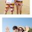 เสื้อคู่รัก ชุดคู่รักเที่ยวทะเลชาย +หญิง เสื้อยืดสีขาวลายคู่รักขับรถเที่ยวชายหาด กางเกงขาสั้นลายแถบสี +พร้อมส่ง+ thumbnail 7