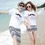 เสื้อคู่รัก ชุดคู่รักเที่ยวทะเลชาย +หญิง เสื้อยืดสีขาวลายหนวด กางเกงขาสั้นลายไทยสีดำ +พร้อมส่ง+ thumbnail 1