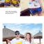 เสื้อคู่รัก ชุดคู่รักเที่ยวทะเลชาย +หญิง เสื้อยืดสีขาวลายคนยืนดูท้องฟ้า กางเกงขาสั้นลายแถบสีหลากสี +พร้อมส่ง+ thumbnail 6