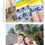 เสื้อคู่รัก ชุดคู่รักเที่ยวทะเลชาย +หญิง เสื้อยืดสีขาวลายคนนั่งมองดูนก กางเกงขาสั้นโทนสีกรมม่วง +พร้อมส่ง+ thumbnail 7