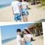 เสื้อคู่รัก ชุดคู่รักเที่ยวทะเลชาย +หญิง เสื้อยืดสีขาวลายคนติดเกาะ กางเกงขาสั้นลายแฉกโทนสีฟ้า +พร้อมส่ง+ thumbnail 6