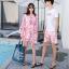 ชุดเสื้อคู่รักเที่ยวทะเล ชายเสื้อยืดพร้อมกางเกงขาสั้น + เดรสแขนยาว สีชมพู แต่งลายดอกไม้ +พร้อมส่ง สำเนา thumbnail 18