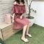 เสื้อผ้าแฟชั่นสไตส์เกาหลี เดรสสายเดี่ยว สีแดง แต่งจั้มอก จั้มเอว +พร้อมส่ง+ thumbnail 6